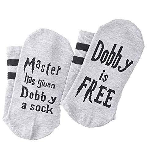 Surenhap Unisex Medias de algodón Novedad Calcetines Divertido Conjunto El Maestro le ha Dado a Dobby un calcetín para los fanáticos de Harry Potter (1 par - B)
