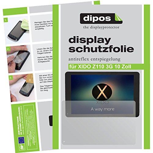 dipos I 2X Schutzfolie matt passend für XIDO Z110 3G 10 Zoll Folie Bildschirmschutzfolie