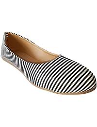Walk Street Black and White Stripes Belly / Sandals (IND-264-STRIPES)