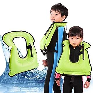 Extra Safe Snorkel Vest - Snorkel Jacket - Snorkeling Diving Vest - Inflatable - Free-Diving Dive Safety Water Safety (Light Green, Child)