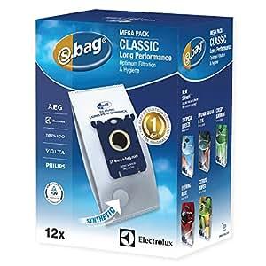 Electrolux E201M Accessoires Aspirateur S-Bag Classic Long Performance 12 Sacs Synthétique Méga Pack