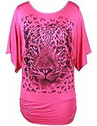 Purple Hanger Damen Rundhals Tier Leopard Gesicht Aufdruck Shorts  Flügelärmel Silber Glitzer Damen dehnbar… e36e36fea0