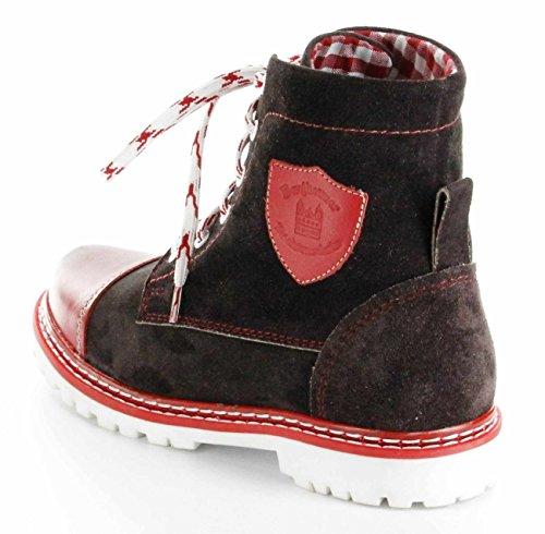 Bergheimer Trachtenschuhe Stiefel rot Leder Stiefelette Damen Schuhe Aflenz Rot