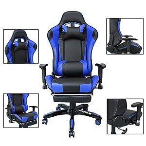 51sbAy13fyL. SS300  - HG-Silla-de-oficina-Silla-de-carreras-Silln-ejecutivo-Reposabrazos-tapizados-premium-Capacidad-de-carga-200-kg-Ergonmico-Silla-de-oficina-ejecutiva-ajustable-negra-azul
