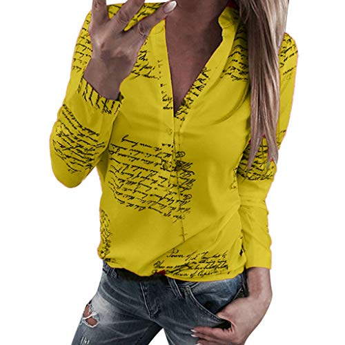 - Knopf-manschette Stretch-blazer (Bluse Damen Herbst Shirt Knopf Fünfzackigen Stern Hot Drill Tops Oberteil Langarm 3/4 Ärmel O-Ausschnitt Sweatshirt Langarmshirt Lose Hemd Tunika)