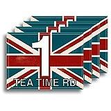 Rustikaler Union Jack Design, Flagge von Großbritannien. Set von 4x Aufkleber für Mülltonnen, personalisiert/Vinyl Etiketten mit Hausnummer und Street Name–Größe A5[4Pack]