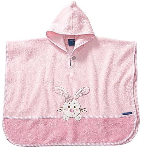 Morgenstern, hochwertiger Frottee - Bade - Poncho aus 100 % Baumwolle, Farbe rosa Motiv Hase, Größe one size (ca. 1 bis 3 Jahre)