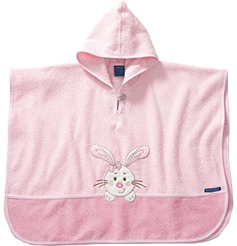 Morgenstern Badeponcho Rosa Hase Poncho Kapuzenbadetuch Frottee Cape für Baby