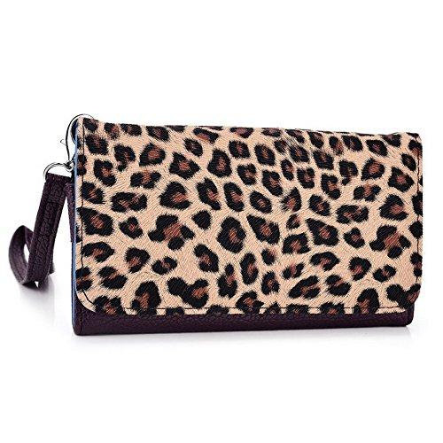 Kroo Pochette Téléphone universel Femme Portefeuille en cuir PU avec sangle poignet pour Xolo Q700s/Q600s Multicolore - Violet/motif léopard Multicolore - Violet/motif léopard