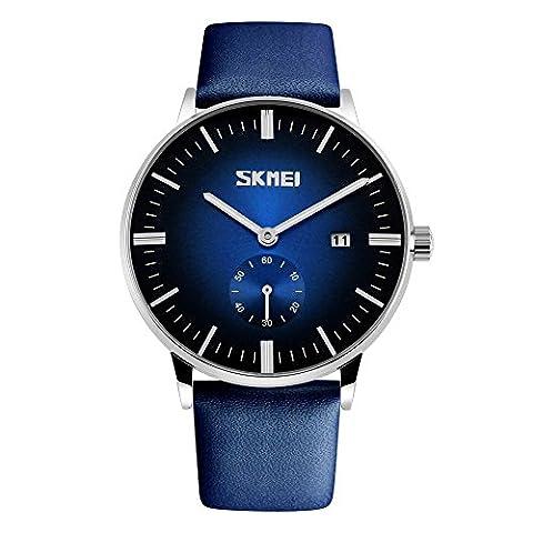 XLORDX Herren Analoge Blau Schwarz Armbanduhr Lederband Uhr Luxus Zeitloses Einfaches Entwurf Klassisch Modisch Quarzuhr Wasserdichte Casual Kleid Kalender (Sportuhr Herren Blau)