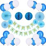 TankerStreet Decoración de Fiesta de Cumpleaños Party Supplies Pancartas de Banderines de Happy Birthday Globo de Látex Ventiladores de Papel Bolas de Panal para Chicas Chicos Adulto Azul Blanco