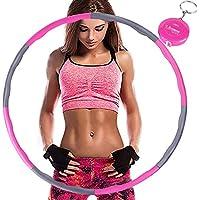 Aoweika Hula Hoop para Adelgaza, Aro de Fitness Desmontable con Espuma, Ancho Ajustable (19-35in) para Adultos con Mini Cinta Métrica