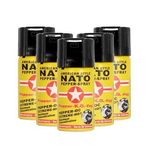 Preisvergleich Produktbild Pfefferspray American Style NATO 40ml Extreme Pepperspray Abwehrspray Fog 5 Stück im Set