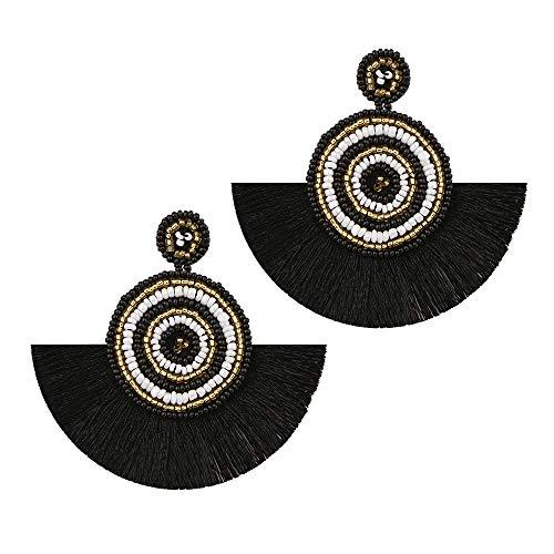 YA&NG Böhmische Hoop Perlen Quaste handgemachte Stud Drop Ohrringe für Frauen Mädchen Date Party Daily Wear,Black