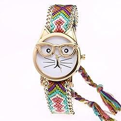 Longra Relojes de Gatos de Dibujos Animados Pulsera Reloj de Cuarzo Reloj de Pulsera D