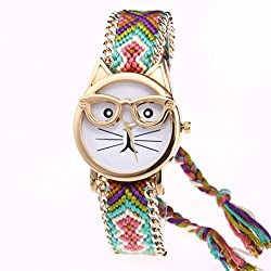 Longra Reloj ♥Lindo gato de dibujos animados pulsera reloj de cuarzo reloj de pulsera (Multicolor D)
