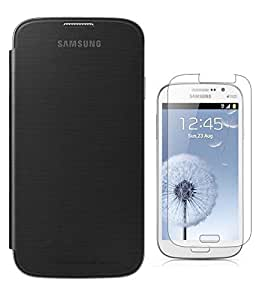 Winchip Flip Cover For Samsung Galaxy Grand MAX Sm G7200 With Tempered Glass - Black