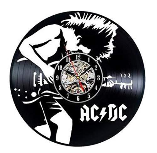 wczzh 12 Zoll(30cm) Modern Quartz Lautlos Wanduhr Uhr Uhren Wall Clock Bandvinylaufzeichnungswanduhr-Felsenmädchen