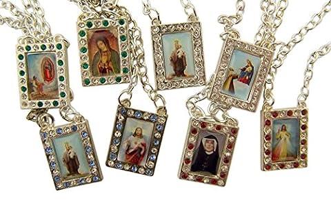 Argent Tonique Base Scapulaire Médaille avec Saint catholique et de notre Dame des images, Lot de 4, 83,8cm