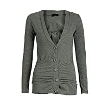 NEW WOMENS LADIES LONG SLEEVE POCKET BUTTON BOYFRIEND CARDIGAN JUMPER TOPS SIZE