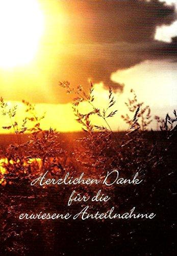 Danksagungskarten Trauerkarten mit Innentext und Umschlägen Motiv Sonnenuntergang / Wiese (15 Karten) Trauerkarte Danksagung Trauer Danke (K51)