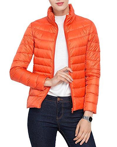 Choies Damen Jacke Daunenjacken leicht Stehkragen Winter Kälteschutz Daunen Jacket Outdoor Steppjacke Orange XL