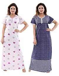 08aff6b6048 TUCUTE Women Girls Beautiful Denim Print Polka Dott s + Baby Shades Floral  Print Nighty Night Gown Nightwear Offer (Pack…