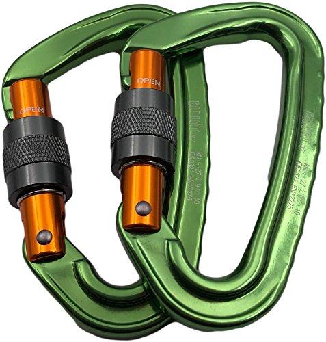 ElliotSt Schraubkarabiner Silver Screw: (Karabiner, Bruchlast längs 27 kN), Anzahl:2er Set grün-orange