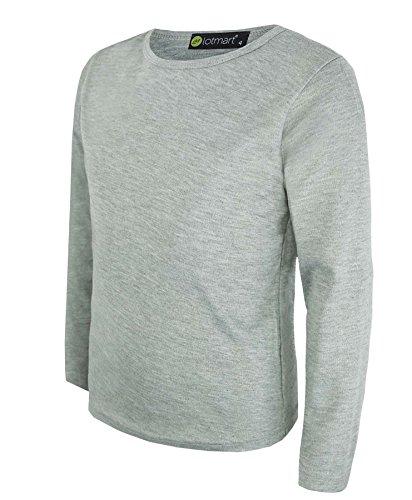Kinder Uni Einfach Top Langärmelig Mädchen Jungen T-Shirt Oberteile Crew Uniform T-Shirt - Grau Meliert, Damen, 146-152 (Grau Langarm-shirt)