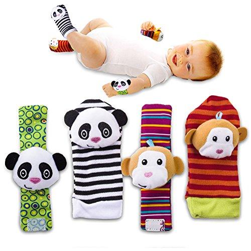 value-makers-4-pcs-bebe-hochet-chaussettes-animal-mignon-chaussettes-de-bebe-de-bande-dessineemonkey