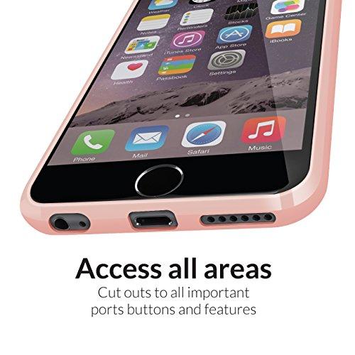 Orzly® FUSION Bumper Case für Apple iPhone 6 & 6S (4.7-Zoll Modell 2014 & 2015 Version) - Schutz Hard Cover mit stoßabsorbierenden Gummi SCHWARZ Rim und Voll Transparente Rückseite ROSE GOLD Fusion für iPhone 6 PLUS & 6S PLUS