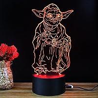 Personajes de Star Wars Movie Maestro Yoda USB 3D de la ilusión óptica 7 cambio del color del botón del tacto de la lámpara de luz LED Clase de eficiencia energética A++