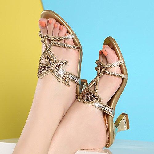 ZYUSHIZ Sommer Damen Schuhe Western Sexy synthetischer Diamant 38EU