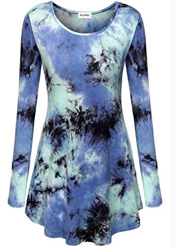 KorMei donne casual, colletto, orlo elastico Fit svasato manica lunga tunica tops camicetta Tie Dye Blue