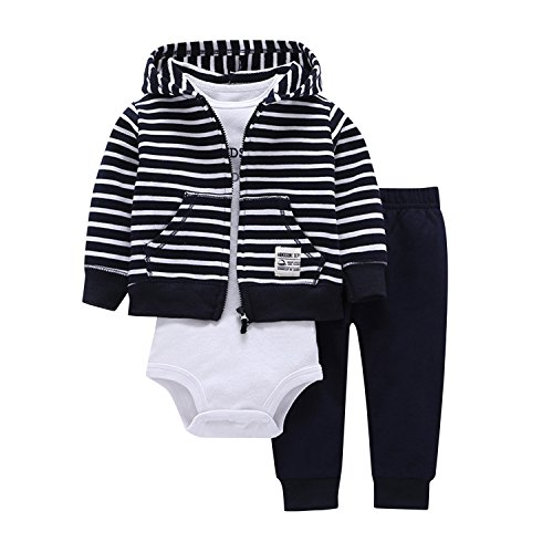 Newborn Baby Boys Coat Jacket + Romper + Long Pants 3pcs Clothing Set Outfit Striped 0-9 Months