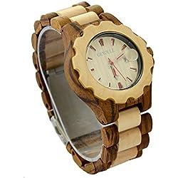ideashop® Fashion Holz verstellbar Armbanduhren Datum Holz Armbanduhr verstellbar Holz Band Armbanduhr Geschenk Zebra und Ahornholz