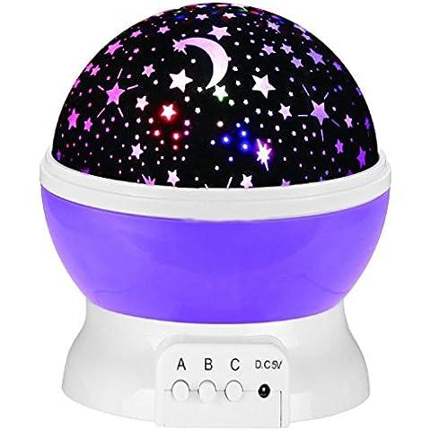 Rotazione Notte Stellata Luce 3 Modi Romantico Stella Cosmos Proiettore per Cameretta Regalo di Compleanno-Viola