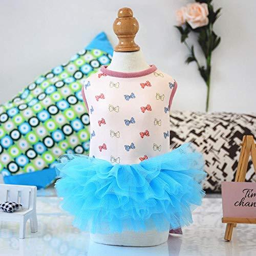 PLOOKIJUH Hundekleid Prinzessin Teddy Rock Frühling und Sommerkleid Dünnschliff Teddy Pudel kleine Hundekleidung@Bogen Tutu_S