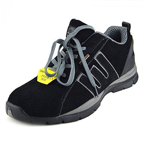 Mens Gents Boy trainer work safety boots steel toe Schwarz