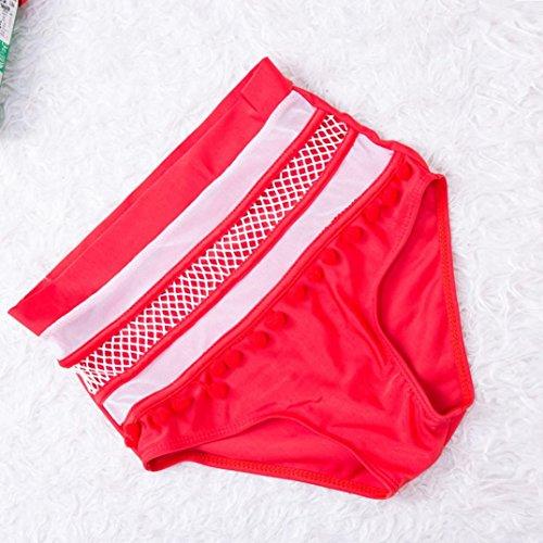 Tpulling Maillot de Bain Femme 2 Pieces ❤ Femme Straps Bikini Set Push-Up Rembourré Maillots de Bain Lace Up Sportswear red