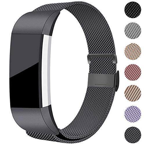 Hamile Kompatibel für Fitbit Charge 2 Armband, Metall Armband, Edelstahl Sport Ersatzarmband für Fitbit Charge 2 Fitness Tracker, Groß Platz Grau