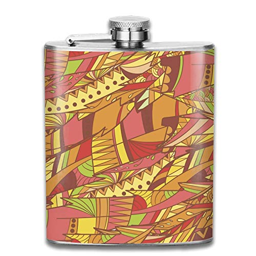 Abstract Feathers Hip Flask - Stainless Steel Shot flasks for Storing Whiskey/Alcohol