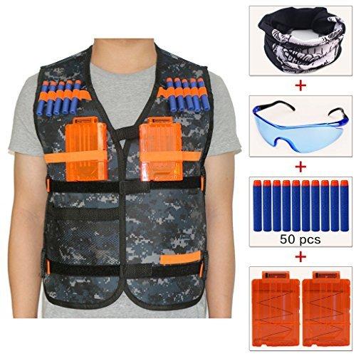 Bambini all'aperto Camuffamento Gilet tattico giubbotti kit (dotata maschere+Colorato Occhiali protettivi+50 dardi+2 Caricatore a ricarica rapida) per Nerf N-Strike Elite series pistola giocattolo