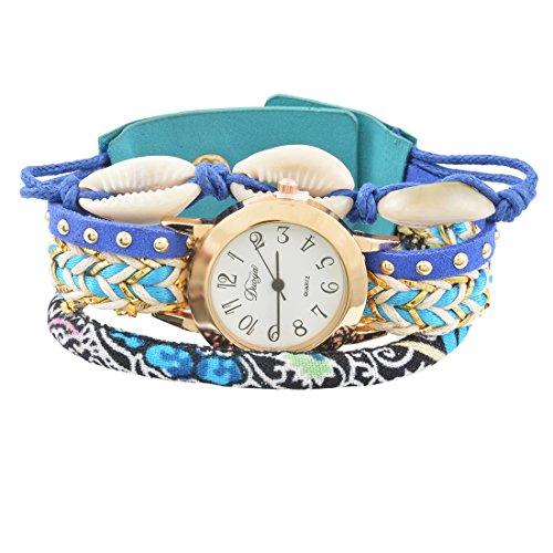 Souarts Damen Armbanduhr Bohemian Stil Deko Uhr mit Batterie Charm Geschenk Blau