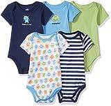 Luvable Friends Cotton Bodysuit, 5 Pack Monster Bodysuits, 3-6 Months