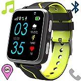 Orologio Telefono Musica Bambini - Lettore MP3 Smartwatch con LBS Tracker Posiziona Fotocamera Chat Vocale Torcia Elettrica Pedometro per Regalo Cresima Ragazzo Ragazza 4-15, Nero&Verde