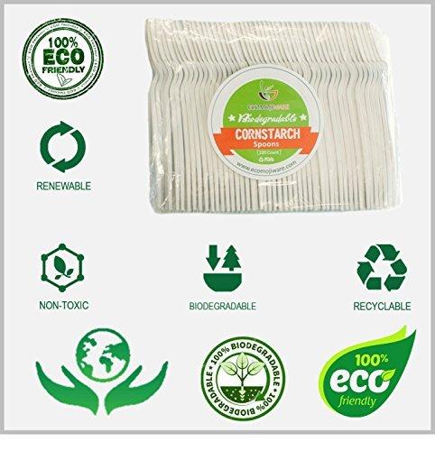Einweg-Löffel–von ecomojiware. COM–zertifiziert kompostierbar Recycling Besteck, Geburtstag, BBQ, Party Supplies–Küche Besteck, Combo Set (100Zählen), Heavy Duty Maisstärke (Pack 02 Combo)