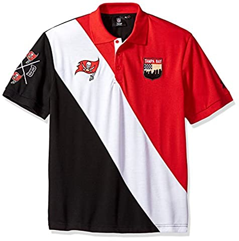 Forever Collectibles Men's Diagonal Stripe Cotton Rugby Polo, Tampa Bay