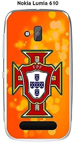 Coque Nokia Lumia 610 design Foot Portugal fond bleu
