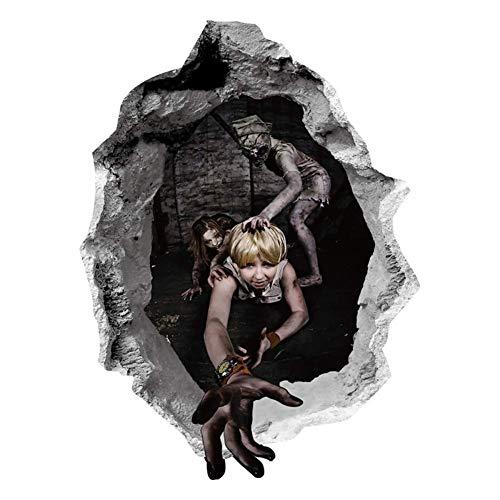 ABLUD Wandaufkleber Halloween Broken Wall Weibliche Ghost Poster Home Dekorative 3D Vision Abnehmbare Wasserdichte Festival-Party Horror-Aufkleber